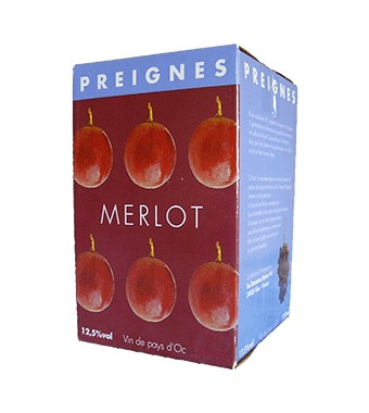 IGP Pays d'Oc - BIB 5L Tradition Merlot - Domaines Preignes Robert Vic